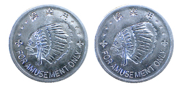 00437 GETTONE TOKEN JETON JAPAN AMUSEMENT ARCADE INDIAN HEAD - Tokens & Medals