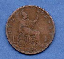 Grande Bretagne  --  1/2 Penny 1886  -  Km # 754  -  état B+ - 1902-1971 : Monnaies Post-Victoriennes