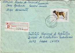 Portugal , 1981 , Registration Label And  Postmark SAMORA CORREIA ,  Serra Da Estrela Dog  Stamp - Poststempel (Marcophilie)