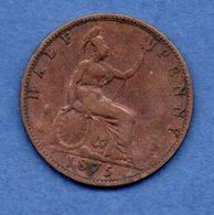 Grande Bretagne  --  1/2 Penny 1875  -  Km # 754  -  état B+ - 1902-1971 : Monnaies Post-Victoriennes
