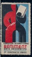 BELGIQUE - VIGNETTE - BUXELLES - EXPOSITION INTERNATIONALE - BATIMENT - ARTS DÉCORATIFS - Vignettes D'affranchissement