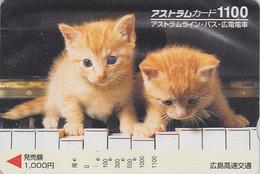Carte Prépayée Japon - ANIMAL - CHAT Chats Sur Piano 1100 - CAT Japan Prepaid Card - KATZE - GATTO - GATO - FR 4622 - Gatos