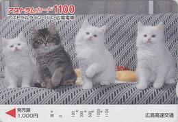 Carte Prépayée Japon - ANIMAL - CHAT Chats 1100 - CAT Japan Prepaid Card - KATZE - GATTO - GATO - FR 4625 - Gatos