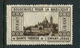 """Lisieux Souscrivez Pour La Basilique Sainte Therese Reklamemarke Poster Stamp Vignette No Gum 2 X 1 5/8"""" - Cinderellas"""