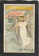 Austria-Frohliche Weihnachten,Embossed Angel 1901 - Antique Postcard - Austria