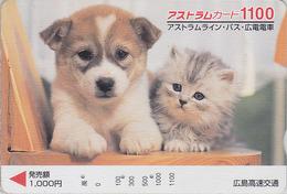 Carte Prépayée Japon - ANIMAL - CHAT & CHIEN 1100 - CAT & DOG Japan Prepaid Card - KATZE & HUND - FR 4628 - Gatos