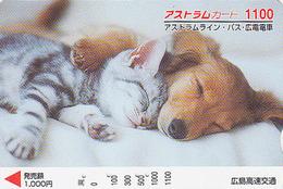 Carte Prépayée Japon - ANIMAL - CHAT & CHIEN TECKEL 1100 - CAT & DOG Japan Prepaid Card - KATZE & HUND - FR 4630 - Cats