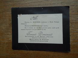 """Fernand Demimuid Sous Lieutenant Au 60e R. A. Mort Pour La France Le 1er Avril 1917 , Dans Sa 25e Année """" Faire Part """" - Personnages"""