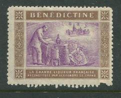 "Benedictine La Grande Liqueur Francaise Reklamemarke Poster Stamp Vignette Never Hinged 1 3/4 X 1 3/8"" - Cinderellas"