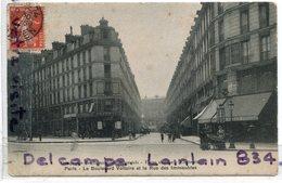 - Paris - Le Boulevard Voltaire Et La Rue Des Immeubles Industriels - Tabac, écrite, 1908, TBE, Scans. - Arrondissement: 11