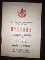 Armenian Pocket Calendar 1972 - Armenian Catholic Church - Calendars