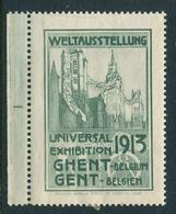 """1913 Weltausstellung Universal Exhibition Ghent  Reklamemarke Poster Stamp Vignettenever Hinged 1 5/8 X 2 1/4"""" - Cinderellas"""