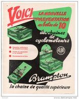 FICHE PUBLICITAIRE . CHAÎNES DE CYCLOMOTEURS BRAMPTON - Réf. N°10P - - Motos