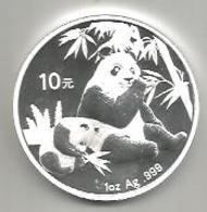 Cina, 2007, Panda, 10 Y. Ag. Fondo Specchio. - Cina