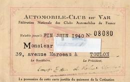 AUTOMOBILE-CLUB DU VAR N°08080 -1940 TOULON  TIMBRE FISCAL AU DOS - Maps