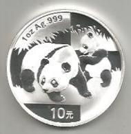 Cina, 2008, Panda, 10 Y. Ag. Fondo Specchio. - Cina