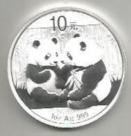 Cina, 2009, Panda, 10 Y. Ag. Fondo Specchio. - Cina