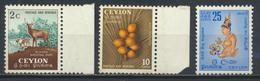 °°° SRI LANKA - YT 292/95/96 - MI 265/69/81 - 1954 MNH °°° - Sri Lanka (Ceylon) (1948-...)