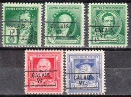 USA Precancel Vorausentwertung Preo, Locals Vermont, Calais 729, 5 Diff. Commemorative Stamps, 7,50 $ Type - Etats-Unis
