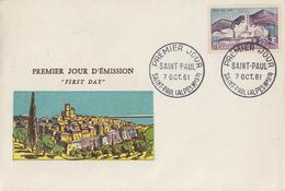 Enveloppe  FDC  1er  Jour    SAINT  PAUL  DE  VENCE   1961 - 1960-1969
