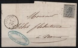 """L. De Seilles-Andenne Affr.N°17 Càd """"ANDENNE/3 JUIL 1869"""" Pour NAMUR (au Dos: Càd NAMUR) - 1865-1866 Linksprofil"""