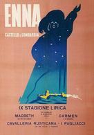 Italian Travel Postcard Sicilia Enna 1953 - Reproduction - Publicité