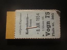1954 ALPEN EXPRESS COPENHAGEN-ROMA RAILWAY TICKET - Unclassified