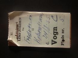 1955 DENMARK EXPRESS LIMFJORDEN-COPENHAGEN RAILWAY TICKET - Transportation Tickets