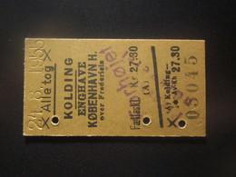 1955 DENMARK KOLDING RAILWAY TICKET - Transportation Tickets