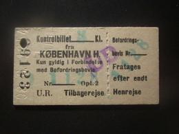 1954 DENMARK COPENHAGEN RAILWAY TICKET - Unclassified