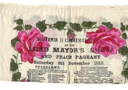 Rare Programme 1919 Lord Mayor's Show Sur Serviette En Papier. - Programmes