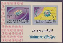 UMM AL QIWAIN 1965 - SPACE ITU Communications, MNH Miniature Sheet IMPERF - Space