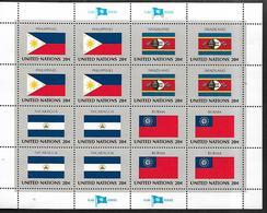 United Nations U.N. 1982 Sc#385a Flags Of PHILIPPINES-SWAZILAND-NICARAGUA-BURMA, Se-tenant Block Of 4 MNH - Briefmarken