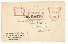 PAYS BAS  EMPREINTE MACHINE   SUR  CARTE  AMSTERDAM 15/03/1940 - Marcofilie - EMA (Print Machine)