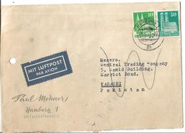 Germany Airmail Cover 50 Pf, 10 Pf To Pakistan. - BRD