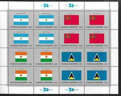 United Nations U.N. 1987 Sc#510a Flags Of ARGENTINA-CONGO-NIGER-SAINT LUCIA, Se-tenant Block Of 4 MNH - Briefmarken