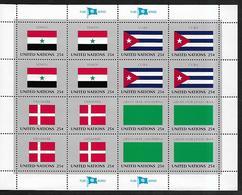 United Nations U.N. 1988 Sc#537a Flags Of YEMEN-CUBA-DENMARK-LIBYA, Se-tenant Block Of 4 MNH - Francobolli
