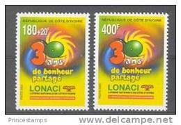 Cote Ivoire - Ivory Coast  (2000)  Yv. 1059/60  /  Loteria - Loterie - Lotery - Ivoorkust (1960-...)