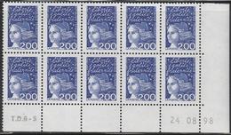 3090 2F. BLEU LUQUET TYPE I - DEMI BAS De FEUILLE De 10 TD6-5 Du 24.08.98 - 1997-04 Marianne (14. Juli)