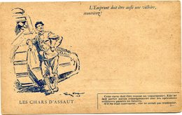 """FRANCE CARTE DE FRANCHISE MILITAIRE NEUVE AVEC ILLUSTRATION """"LES CHARS D'ASSAUT"""" AVEC LEGENDE """"L'EMPRUNT DOIT ETRE..."""" - Marcophilie (Lettres)"""