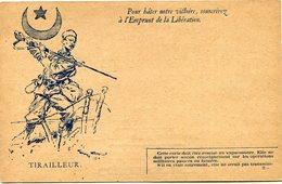 """FRANCE CARTE DE FRANCHISE MILITAIRE NEUVE AVEC ILLUSTRATION """"TIRAILLEUR"""" AVEC LEGENDE """"POUR HATER NOTRE VICTOIRE, ...."""" - Marcophilie (Lettres)"""