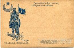 """FRANCE CARTE DE FRANCHISE MILITAIRE NEUVE AVEC ILLUSTRATION """"TIRAILLEUR SENEGALAIS"""" AVEC LEGENDE """"FAITES AUSSI VOTRE..."""" - Marcophilie (Lettres)"""