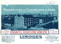 SYLVESTRE VINCENT     Manufacture De Chaussures De Luxe LIMOGES    Illustration Usine   Fiscal - Bills Of Exchange