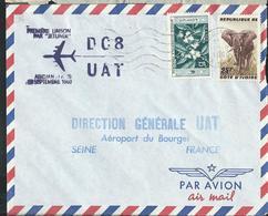 Lettre Par Avion  Avec Timbres-Fleur Et Eléphant  Obl. 10/09/1960 1* Liaison DC8 UAT  Vers La France - Côte D'Ivoire (1960-...)