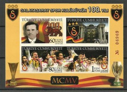 2005 Turkey Centenary Of Galatasaray SC Imperforated Numbered Minisheet (** / MNH / UMM) - Clubs Mythiques