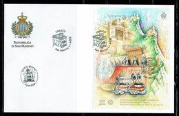 FDC SAN MARINO CENTRE HISTORIQUE ET MONTE TITANO - UNESCO - Modernos