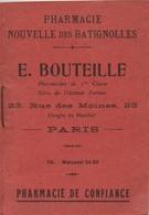 Pharmacie Nouvelle Des BATIGNOLLES/E Bouteille/Rue Des Moines PARIS/Carnet De Pesées Pour Enfants/ 1920-30       PARF158 - Perfume & Beauty