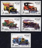 13221 Afghanistan 1989 Vintage Cars  Perf Set Of 5 U/m (duchs Renault Ford Russo-balte Fiat) - Afghanistan