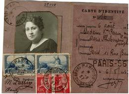 Carte D'identité EPU  - 6/8/1937 - N°311x2 +283x2 - Tarif Du 1/8/37 - Marcophilie (Lettres)