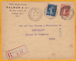 1915 -  N° 147 Surchargé + 25c Semeuse Bleue Perforée Sur Lettre Recommandée De Paris En Ville - Cruz Roja